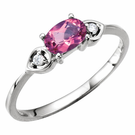 Oval Genuine Pink Tourmaline & Diamond Accented 3-Stone Ring
