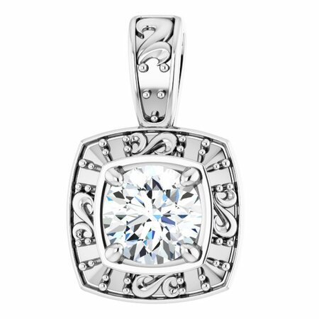 White Diamond Pendant in Platinum 4.1mm Round 0.33 Carat Diamond Pendant