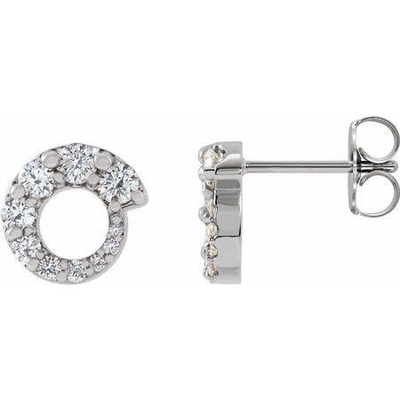 Natural Diamond Earrings in Platinum 1/2 Carat Diamond Graduated Circle Earrings