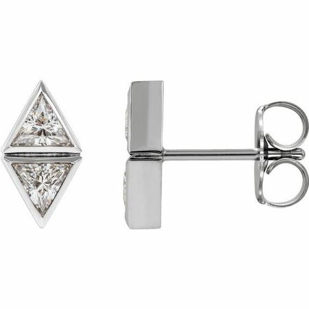 Natural Diamond Earrings in Platinum 1/2 Carat DiamondTwo-Stone Bezel-Set Earrings