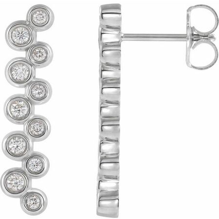 Natural Diamond Earrings in Platinum 1/3 Carat Diamond Bezel-Set Bar Earrings
