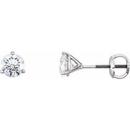 Natural Diamond Earrings in Platinum 1/3 Carat Diamond Earrings