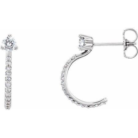Natural Diamond Earrings in Platinum 1/3 Carat Diamond Hoop Earrings
