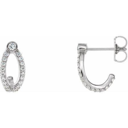 Natural Diamond Earrings in Platinum 1/3 Carat Diamond J-Hoop Earrings