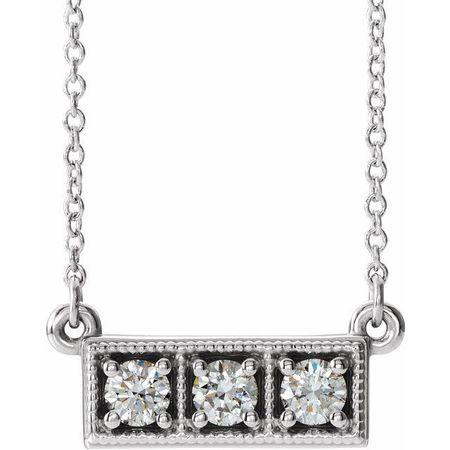 Real Diamond Necklace in Platinum 1/3 Carat Diamond Three-Stone Granulated Bar 16-18