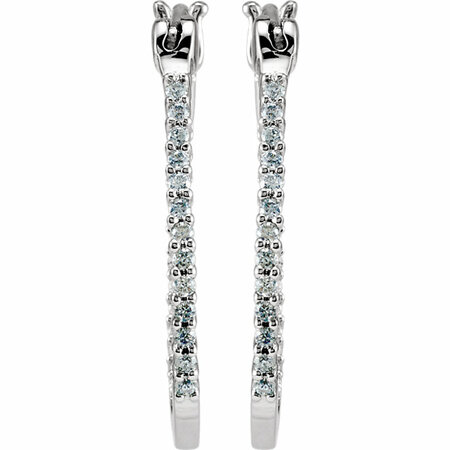 Natural Diamond Earrings in Platinum 1/4 Carat Diamond Inside/Outside Hoops