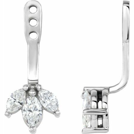 Platinum 0.25 Carat Weight Diamond Cluster Front-Back Earring Jackets