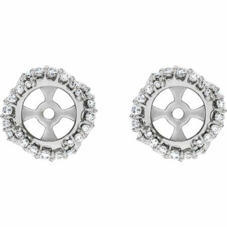 Natural Diamond Earrings in Platinum 1/4 Carat Diamond Halo-Style Earring Jackets with 5.7 mm ID