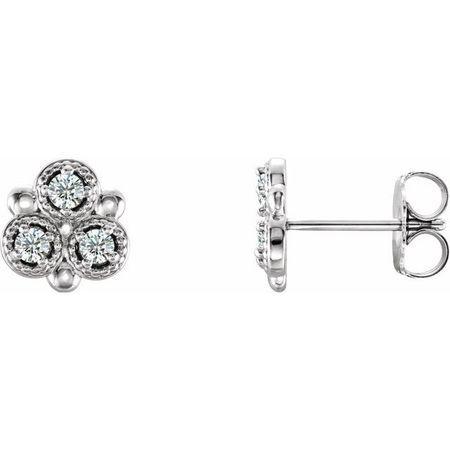 Natural Diamond Earrings in Platinum 1/5 Carat Diamond Earrings