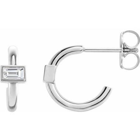 Natural Diamond Earrings in Platinum 1/5 Carat Diamond J-Hoop Earrings