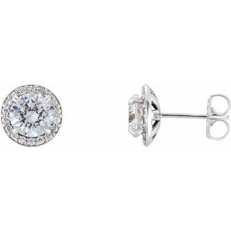 Natural Diamond Earrings in Platinum 1 Carat Diamond Halo-Style Earrings