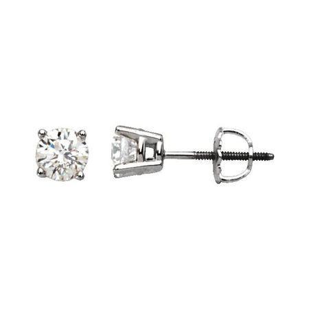 Natural Diamond Earrings in Platinum 1 Carat Diamond Stud Earrings
