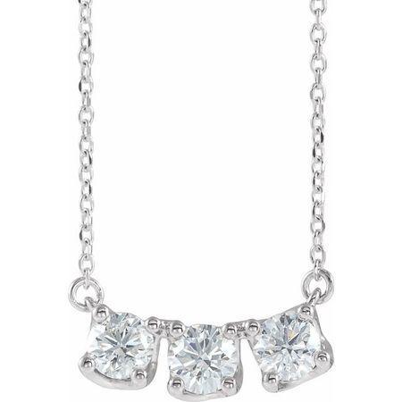 Genuine Diamond Necklace in Platinum 1 Carat Diamond Three-Stone Curved Bar 16