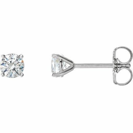 Natural Diamond Earrings in Platinum 3/4 Carat Diamond 4-Prong CocKaratail-Style Earrings