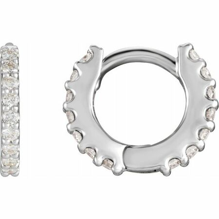 Natural Diamond Earrings in Platinum 3/8 Carat Diamond Hinged 14 mm Hoop Earrings