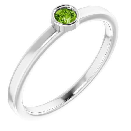 Peridot Ring in Platinum 3 mm Round Peridot Ring