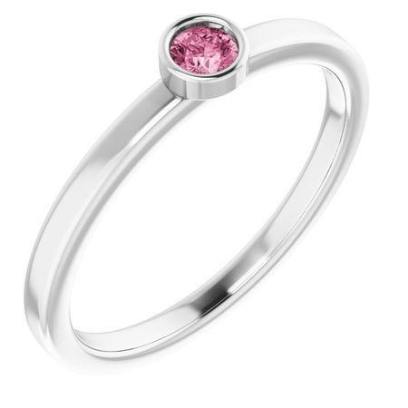 Pink Tourmaline Ring in Platinum 3 mm Round Pink Tourmaline Ring
