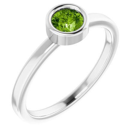 Peridot Ring in Platinum 4.5 mm Round Peridot Ring