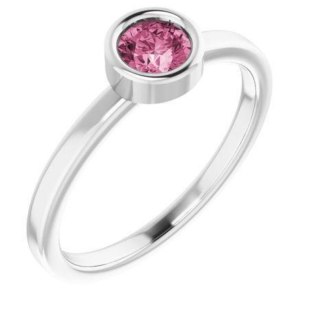 Pink Tourmaline Ring in Platinum 4.5 mm Round Pink Tourmaline Ring