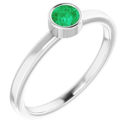 Emerald Ring in Platinum 4 mm Round Emerald Ring