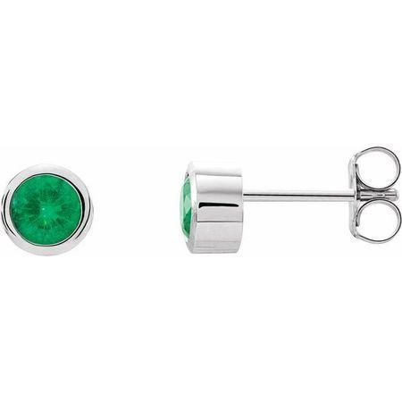 Genuine Emerald Earrings in Platinum 4 mm Round Emerald Birthstone Earrings