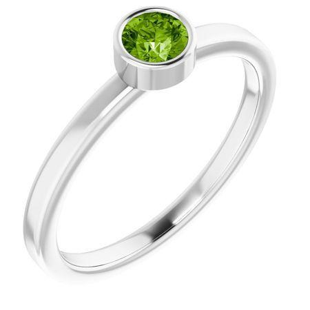 Peridot Ring in Platinum 4 mm Round Peridot Ring