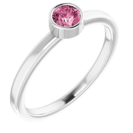 Pink Tourmaline Ring in Platinum 4 mm Round Pink Tourmaline Ring