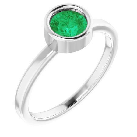 Emerald Ring in Platinum 5.5 mm Round Emerald Ring