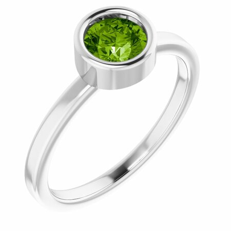 Peridot Ring in Platinum 5.5 mm Round Peridot Ring