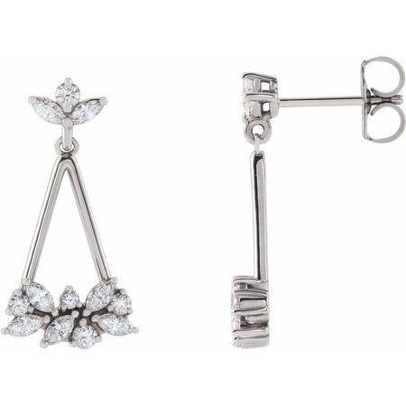 Natural Diamond Earrings in Platinum 5/8 Carat Diamond Geometric Cluster Earrings