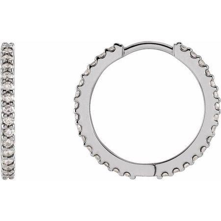 Natural Diamond Earrings in Platinum 5/8 Carat Diamond Hinged 18 mm Hoop Earrings