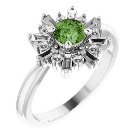 Pink Tourmaline Ring in Platinum 5 mm Round Green Tourmaline & 3/8 Carat Diamond Ring