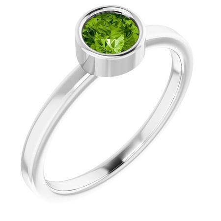 Peridot Ring in Platinum 5 mm Round Peridot Ring