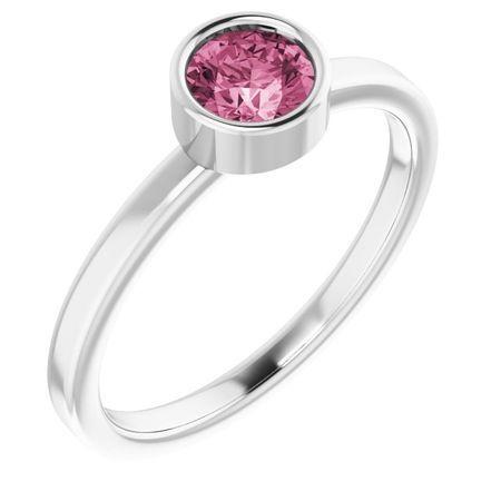 Pink Tourmaline Ring in Platinum 5 mm Round Pink Tourmaline Ring