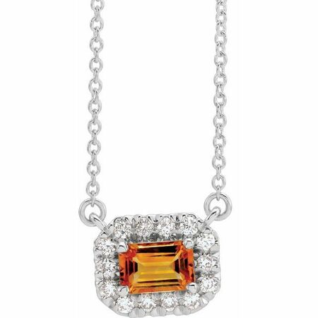 Golden Citrine Necklace in Platinum 5x3 mm Emerald Citrine & 1/8 Carat Diamond 18