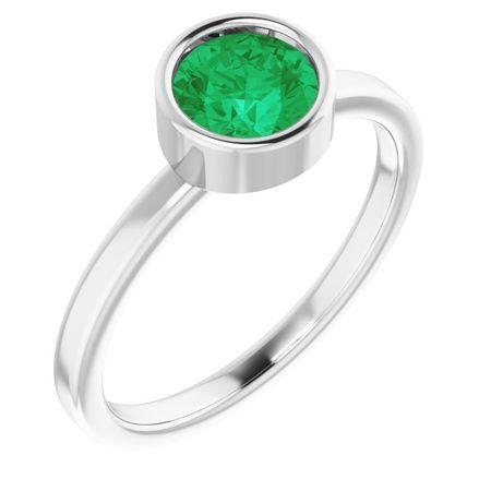 Emerald Ring in Platinum 6 mm Round Emerald Ring