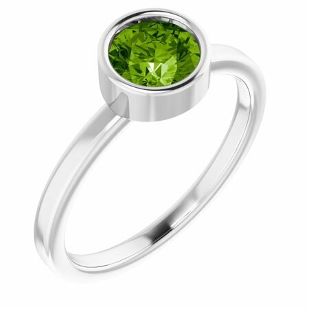 Peridot Ring in Platinum 6 mm Round Peridot Ring