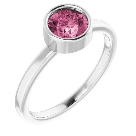 Pink Tourmaline Ring in Platinum 6 mm Round Pink Tourmaline Ring