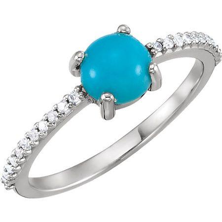 Genuine Turquoise Ring in Platinum 6mm Round Cabochon Turquoise & 0.12 Carat Diamond Ring
