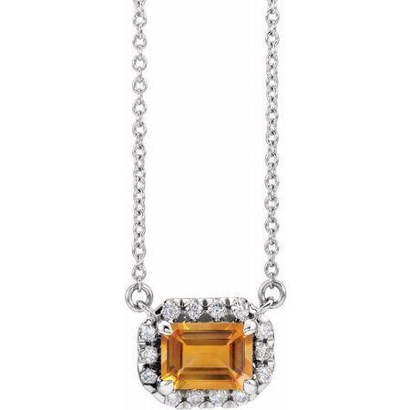 Golden Citrine Necklace in Platinum 6x4 mm Emerald Citrine & 1/5 Carat Diamond 16