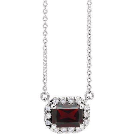 Red Garnet Necklace in Platinum 6x4 mm Emerald Mozambique Garnet & 1/5 Carat Diamond 16
