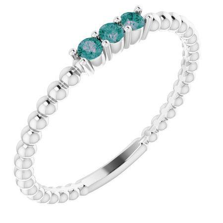 Genuine Alexandrite Ring in Platinum Alexandrite Beaded Ring