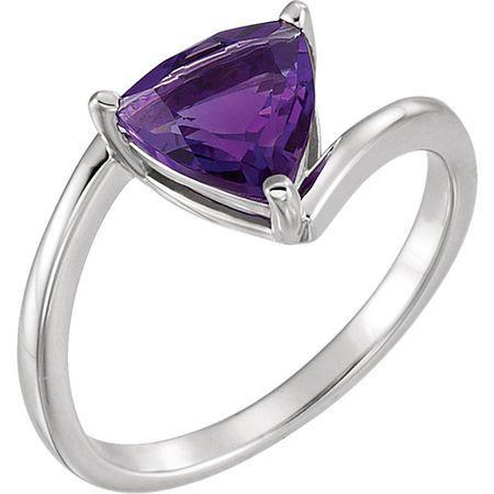 Genuine Amethyst Ring in Platinum Amethyst Ring