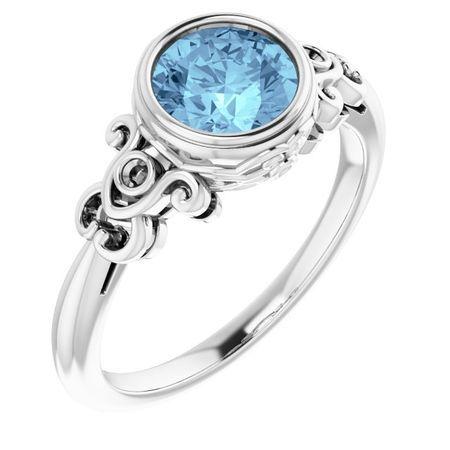 Genuine Aquamarine Ring in Platinum Aquamarine & .03 Carat Diamond Ring