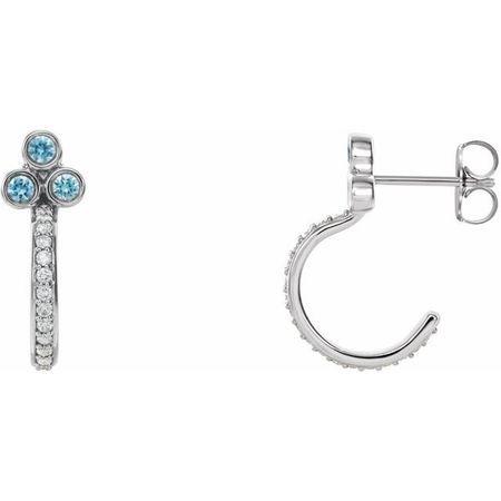 Genuine Zircon Earrings in Platinum Genuine Zircon & 1/4 Carat Diamond J-Hoop Earrings