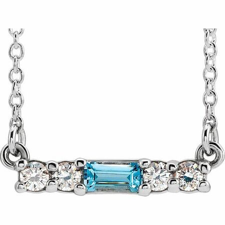 Genuine Zircon Necklace in Platinum Genuine Zircon & 1/5 Carat Diamond 18