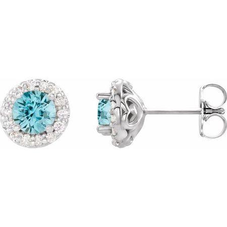 Genuine Zircon Earrings in Platinum Genuine Zircon & 1/6 Carat Diamond Earrings