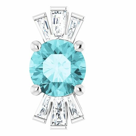 Genuine Zircon Pendant in Platinum Genuine Zircon & 1/6 Carat Diamond Pendant