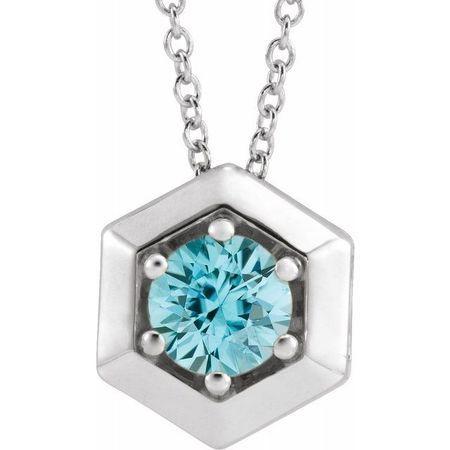 Genuine Zircon Necklace in Platinum Genuine Zircon Geometric 16-18