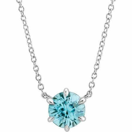 Genuine Zircon Necklace in Platinum Genuine Zircon Solitaire 16